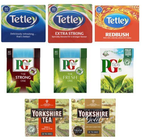 English Tea Selection (640 Bags in total). Tetley Tea, PG Tips and Yorkshire Tea