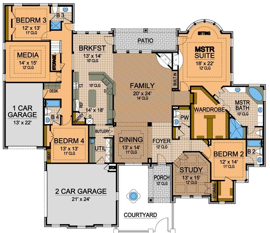 Floor Plan Love It Can Have 1st Bdrm Study Laid Out Lk This And Then Go Into Hallway Myfuturehouse Luxury Floor Plans Texas House Plans House Plans One Story