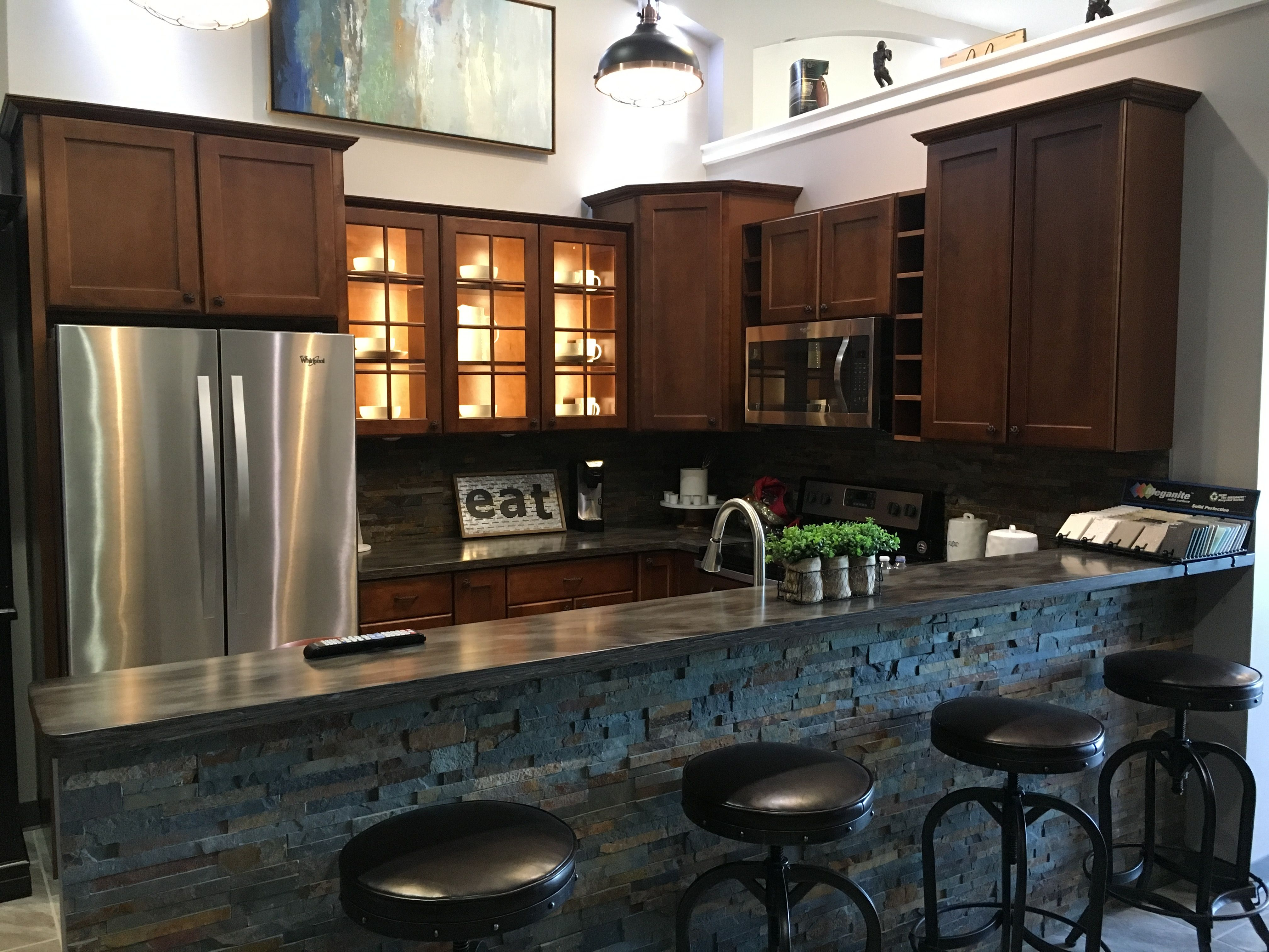Kitchen And Bath Design Quad Cities Remodeled Kitchen With Stone Bar Wall Decor For A Finished Look