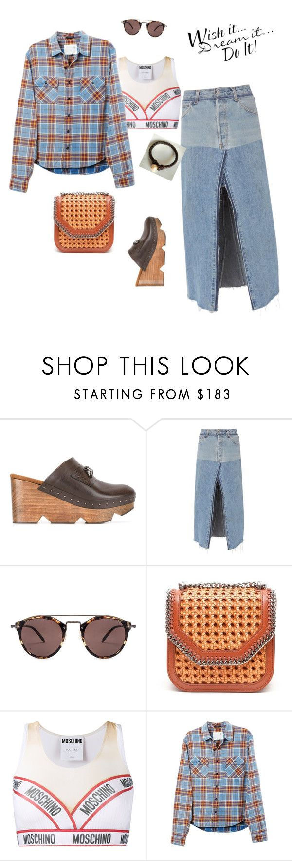 """""""How to Style Plaid shirt"""" by olivia-stones ❤ liked on Polyvore featuring STELLA McCARTNEY, RE/DONE, Oliver Peoples, Moschino, R13, WALL, finepearls and authentico"""