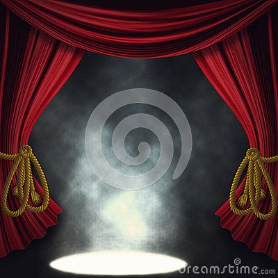 Theater Stage With Open Red Curtain And Three Spotlights And Smoke