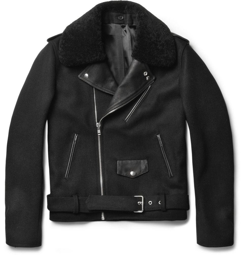 2b0791977 Sandro - Shearling-Collar Wool Biker Jacket | Fashion Jack Approves ...