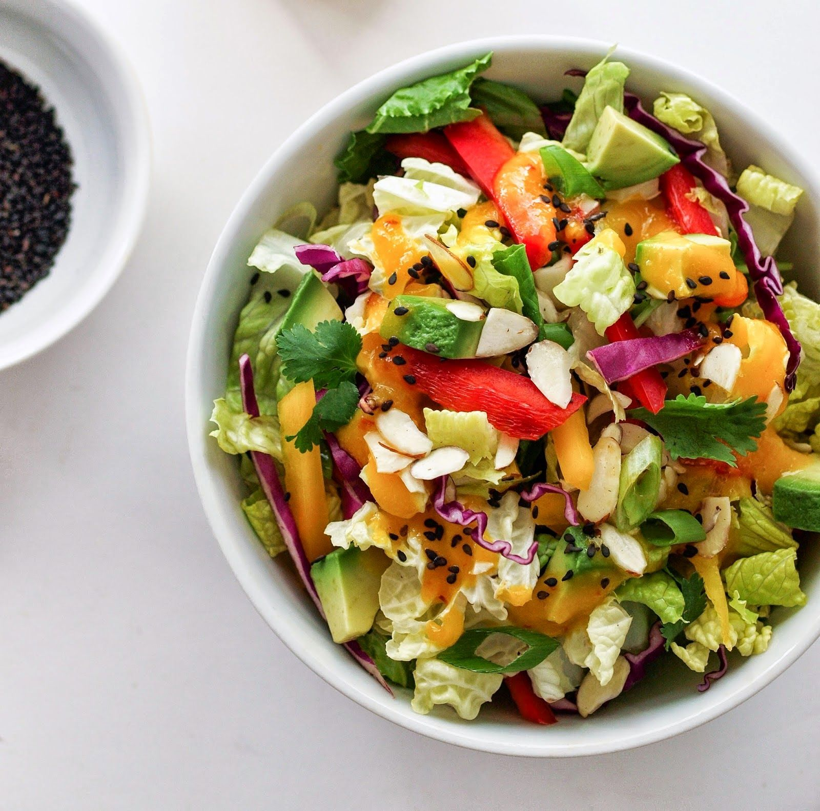 rainbow salad with balsamic roasted brussels  paleo