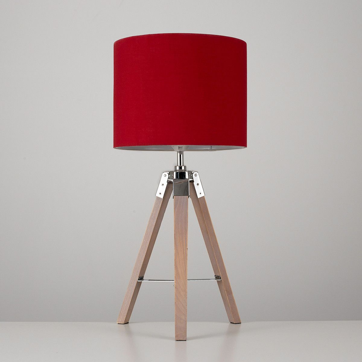 Marine Wooden Tripod Table Lamp, Red Shade   Lamp, Tripod