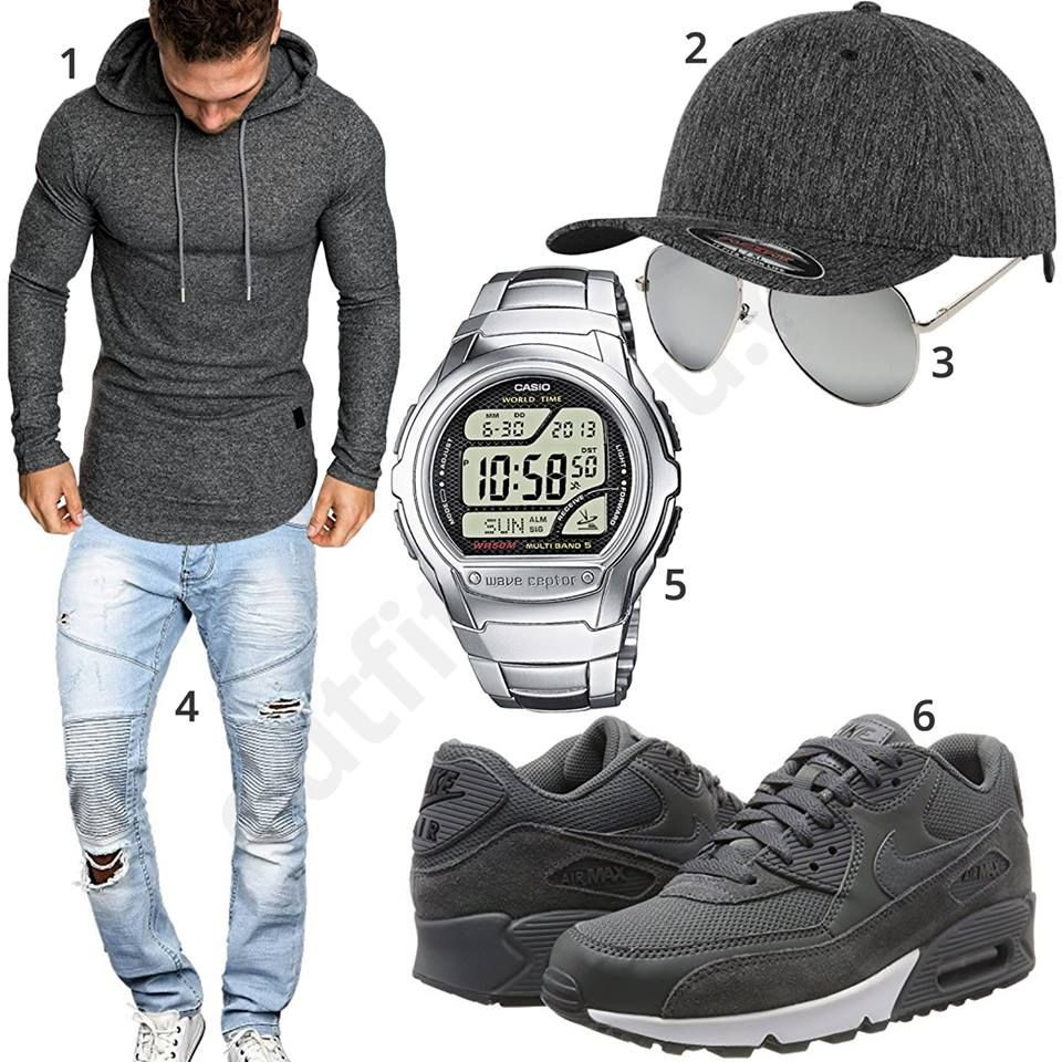 Graues Herrenoutfit Mit Longsleeve Cap Und Nike S Outfits4you De Herren Outfit Lassige Herrenmode Manner Outfit