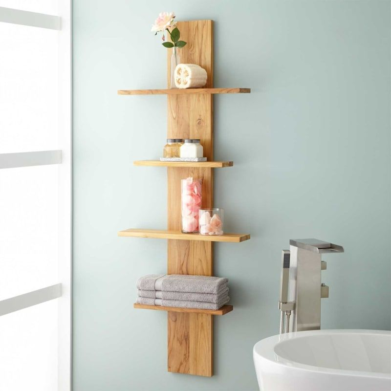 Signature Hardware 412401 Natural Wood Wulan Hanging Bathroom Shelf Four Shelves In 2020 Hanging Bathroom Shelves Decorating Shelves Bathroom Shelves