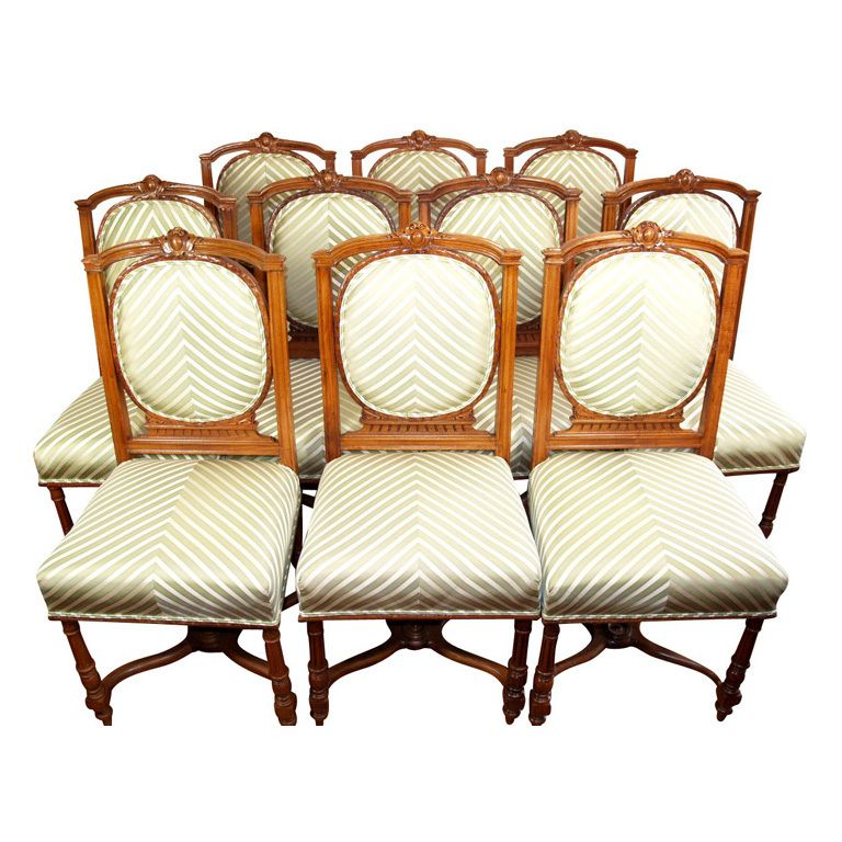 Set of 10 French Louis XVI style side chairs, WILL BREAK ...