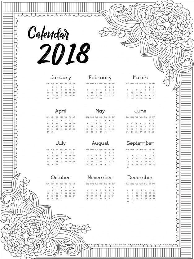 Kalender 2018 ornamentales Design | Kostenlose Kalender 2018 + 2029 ...