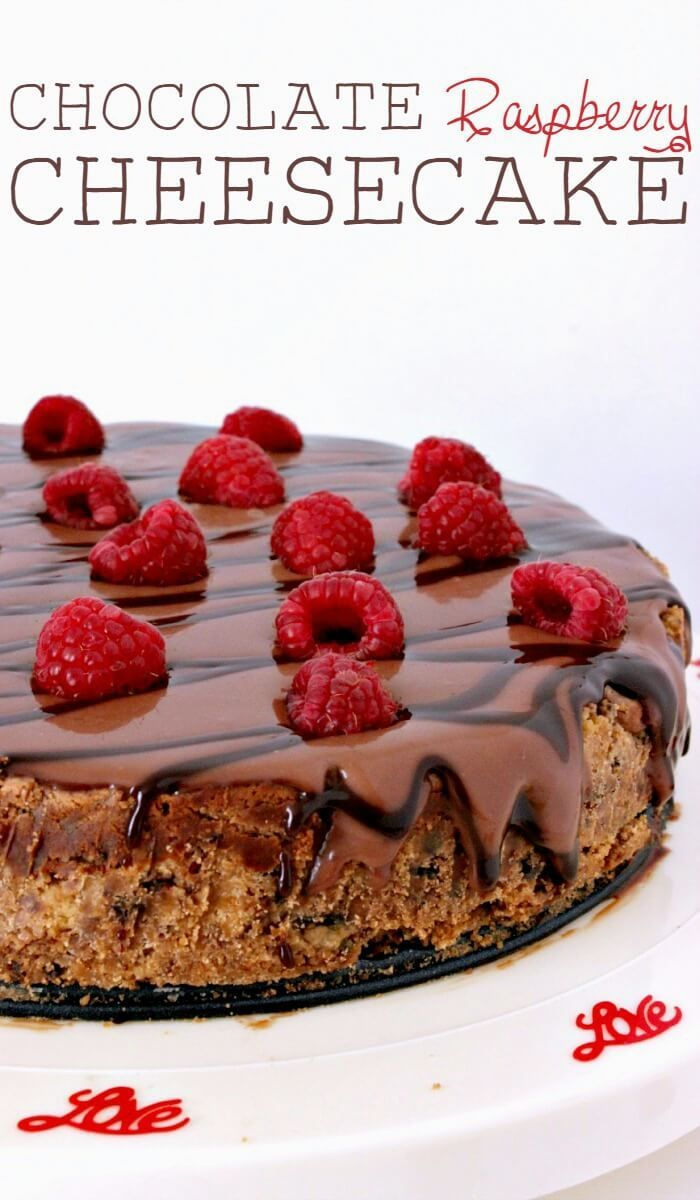 Chocolate raspberry cheesecake is the perfect choice for a stay-at-home dessert-only date night.