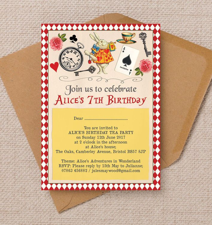 Alice in Wonderland Party Invitation | Party invitations, Kids ...