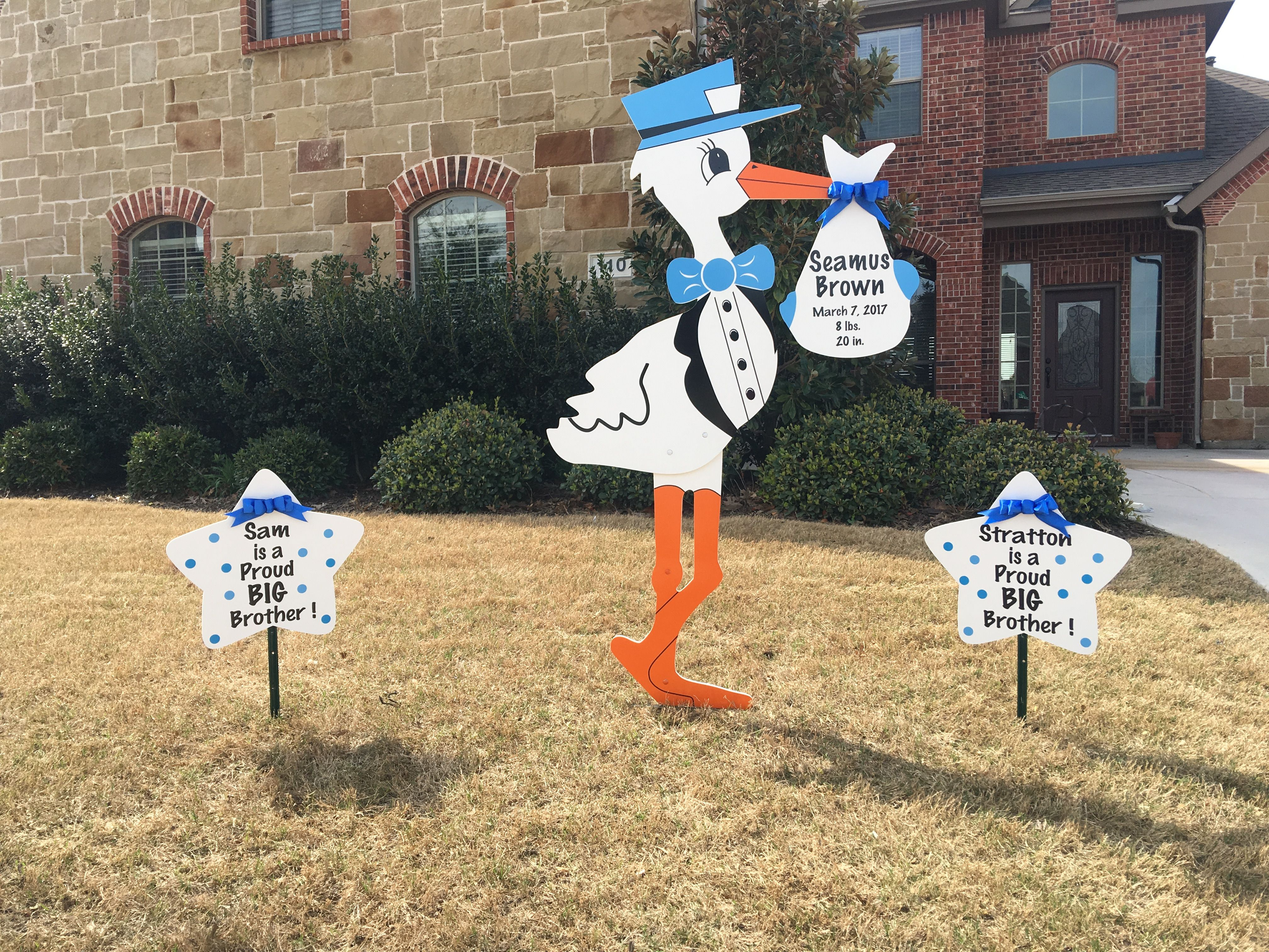 Prosper Texas Welcome Home Seamus Sam Stratton Are Proud Big Brothers Storks More Of Dallas And Abilene Dallas 214 9 Birthday Lawn Signs Stork Abilene