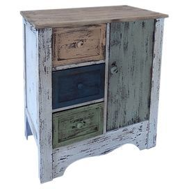 """Bring a rustic touch to your home with this weathered cabinet, showcasing a hand-painted multicolor finish and 3 drawers.   Product: CabinetConstruction Material: WoodColor: MultiFeatures:  Three drawersOne doorBlack drawer interior  Distressed finish  Hand-painted Dimensions: 27.5"""" H x 23.5"""" W x 13.5"""" DCleaning and Care: Wipe clean with damp cloth"""