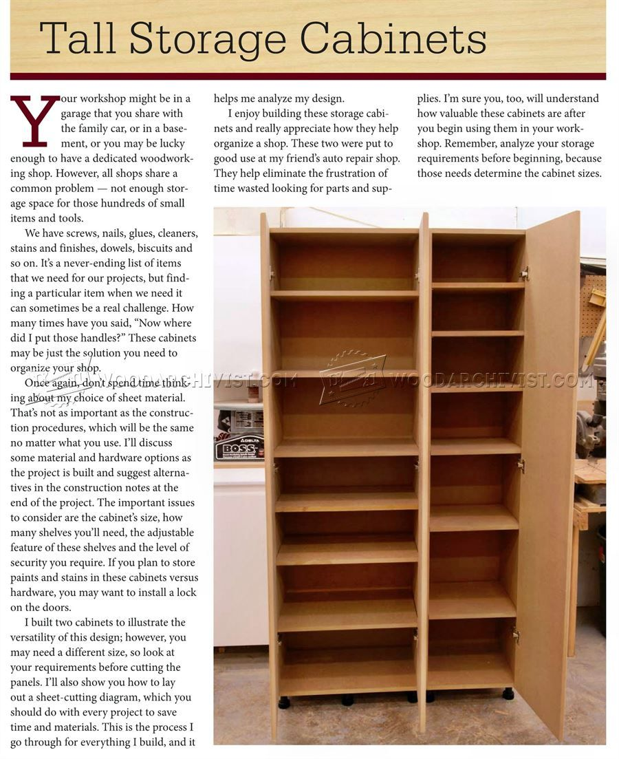 Easy Garage Cabinets Plans: #1786 Tall Storage Cabinet Plans