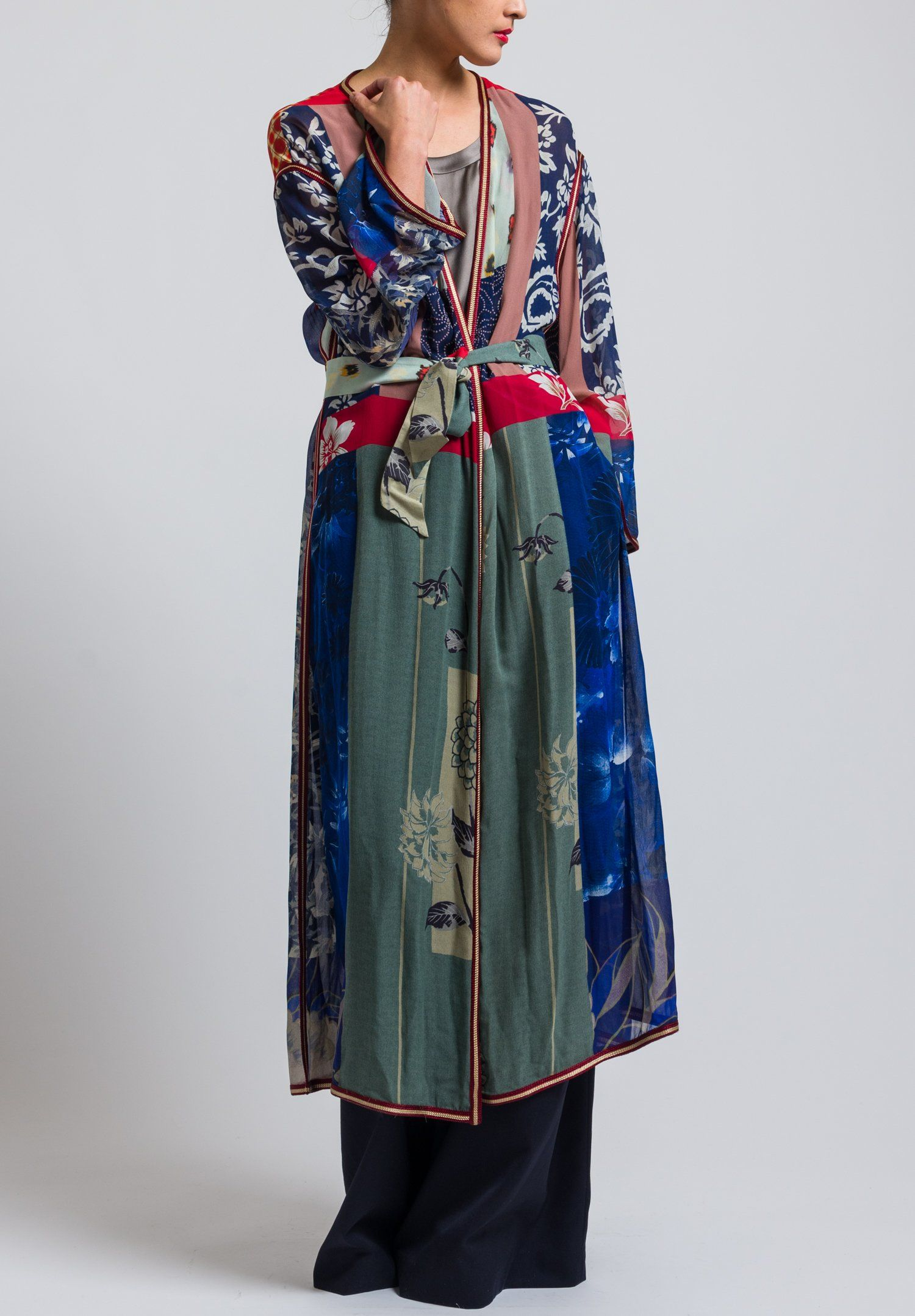 Etro Runway Long Pacific Print Duster In Blue Kimono Fabric Hem Style Patchwork Coat