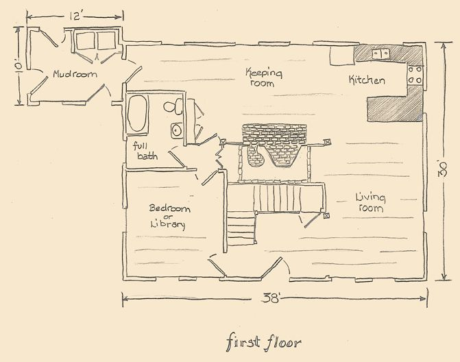 Colonial House With Center Chimney First Floor Plan