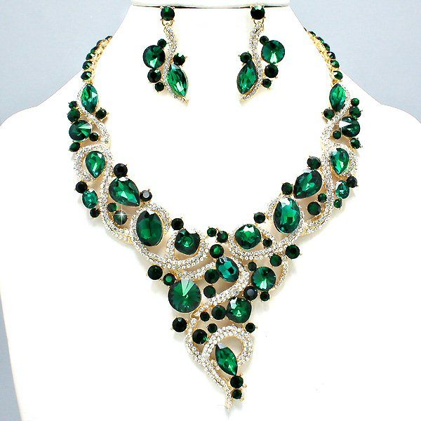 Green Costume Jewellery: Royal Emerald Green Clear Crystal Rhinestone Vine V Shaped