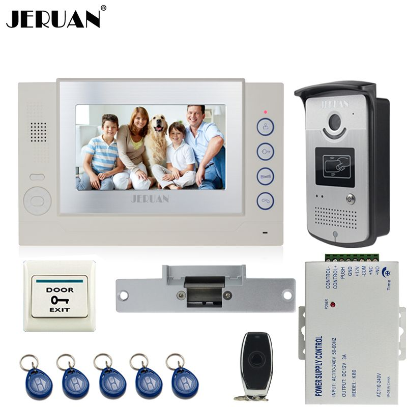JERUAN Home Wired 7`` TFT video door phone Record intercom system ...