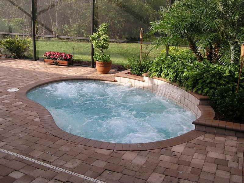 Small Pool With Fountain Pool Small Inground Swimming Pool