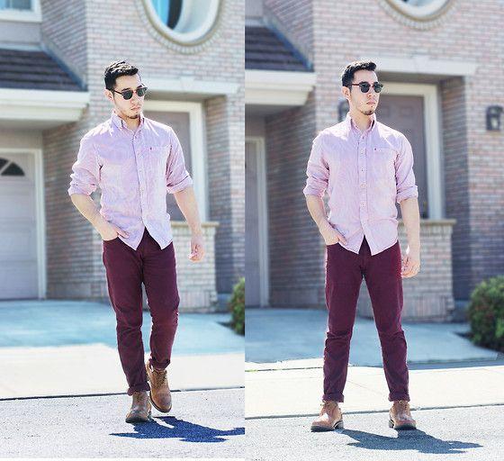Cómo combinar un pantalón vino tinto. Moda para Hombres