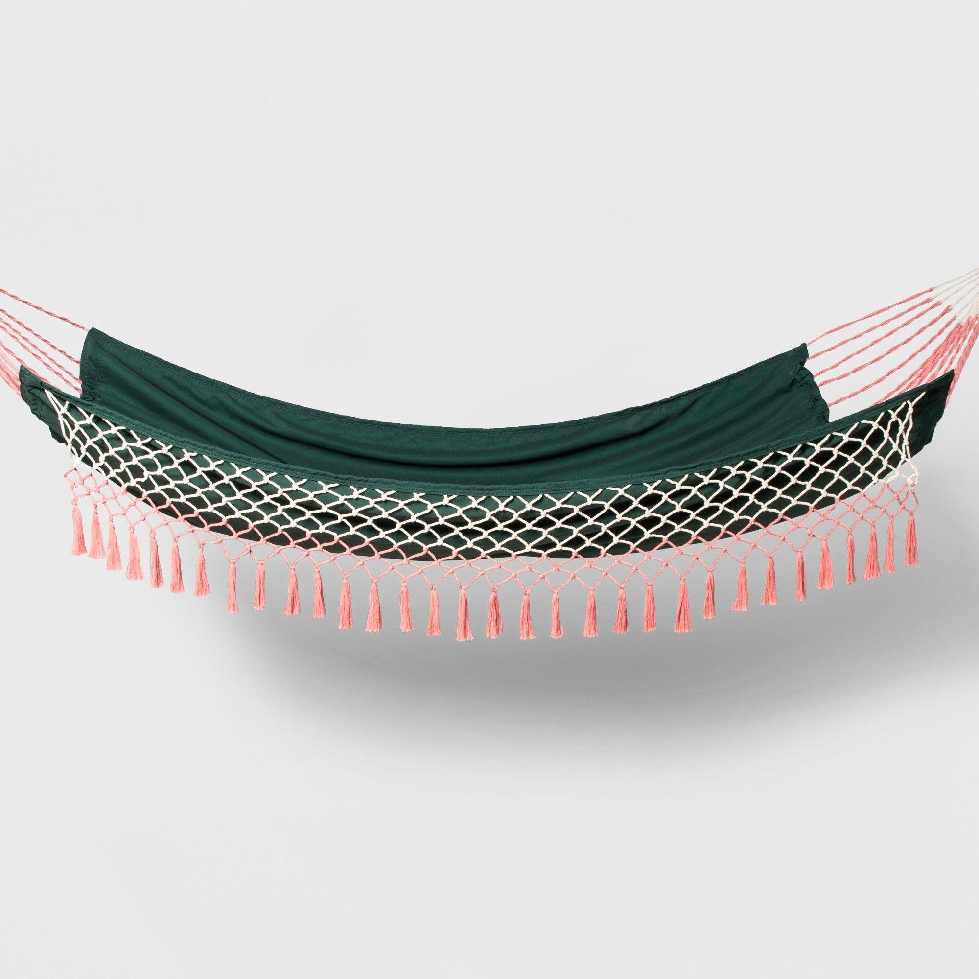 Flat Weave Macrame Fringe Hammock GreenPink  Opalhouse