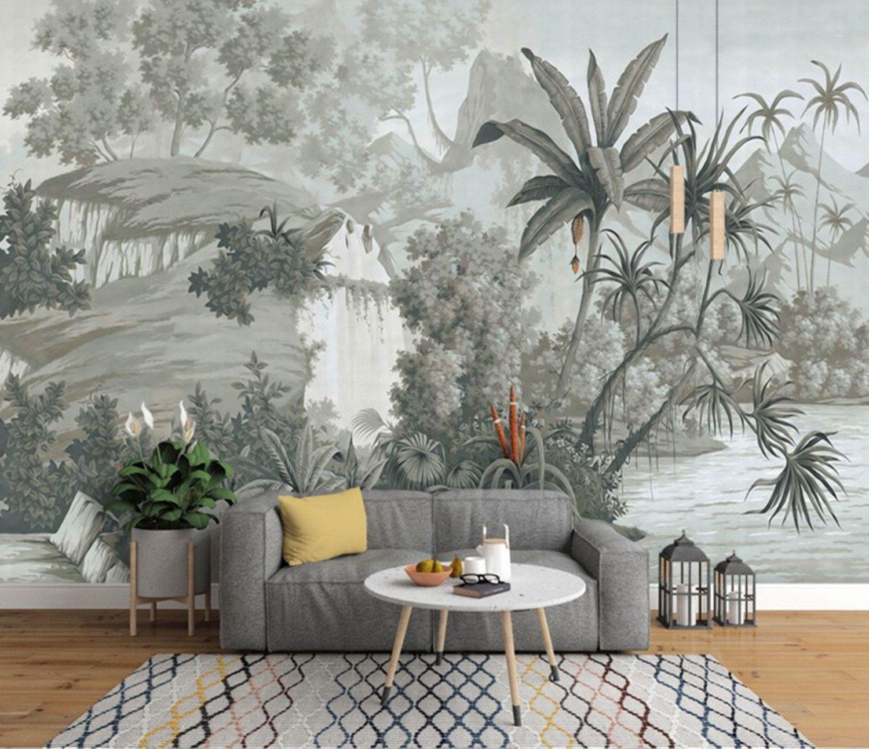 Tropical Rainforest Wallpaper, Vintage Grey Huge Trees