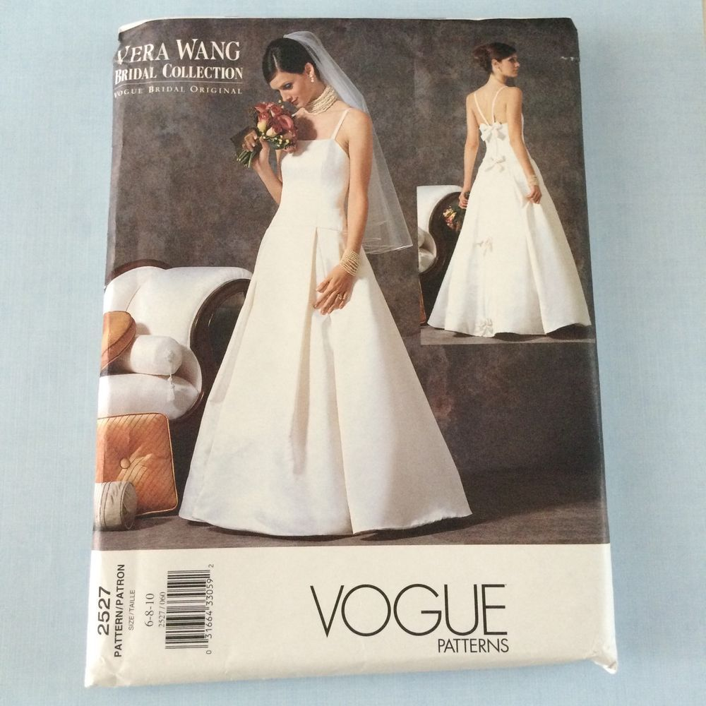 Wedding dress patterns with sleeves  Vogue Vera Wang Wedding Gown Dress Pattern  Uncut Sz  Bridal