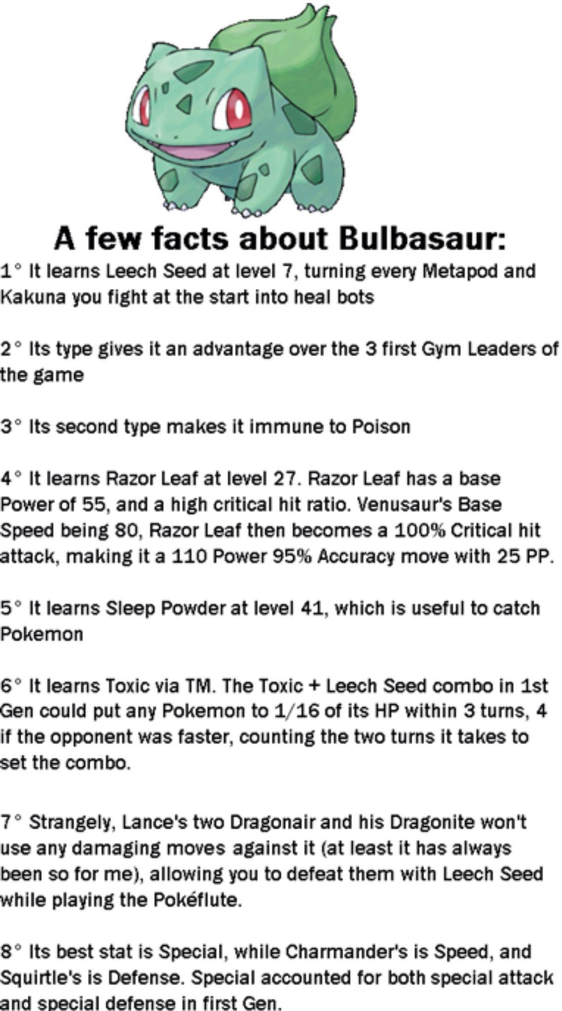 bulbasaur facts pokemon pinterest pokémon