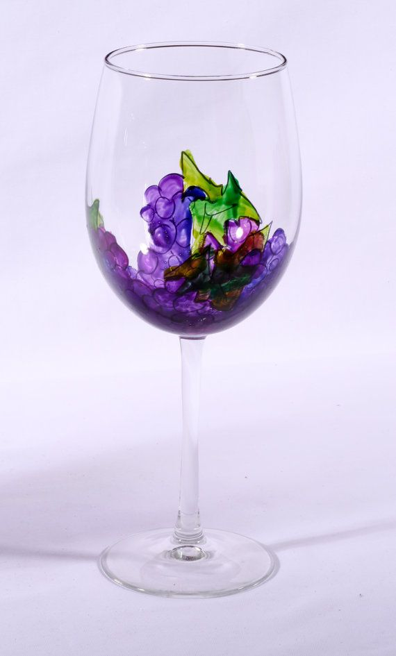 Hand painted Grape wine glasses set of 6 by ModernArtGlassware