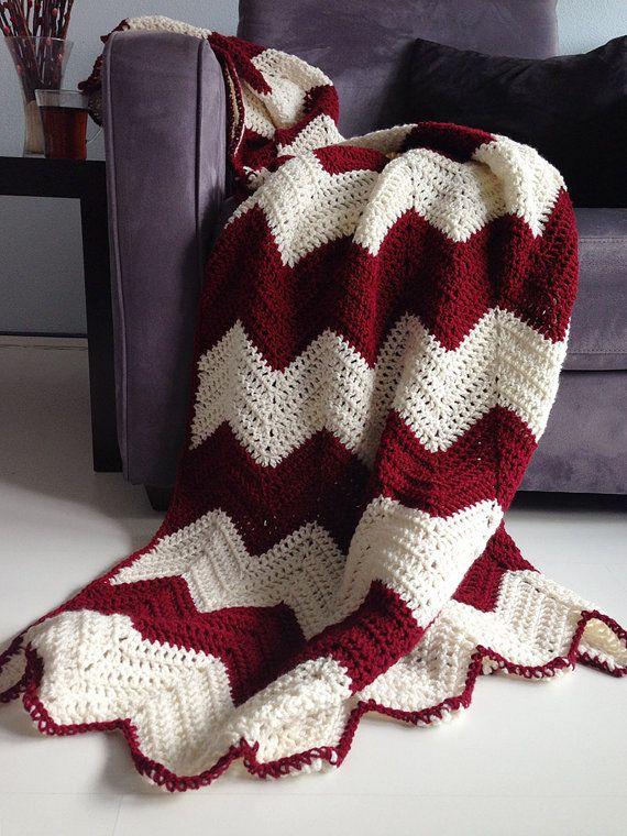 Handmade Crochet  Burgundy Red Black and White Baby Blanket