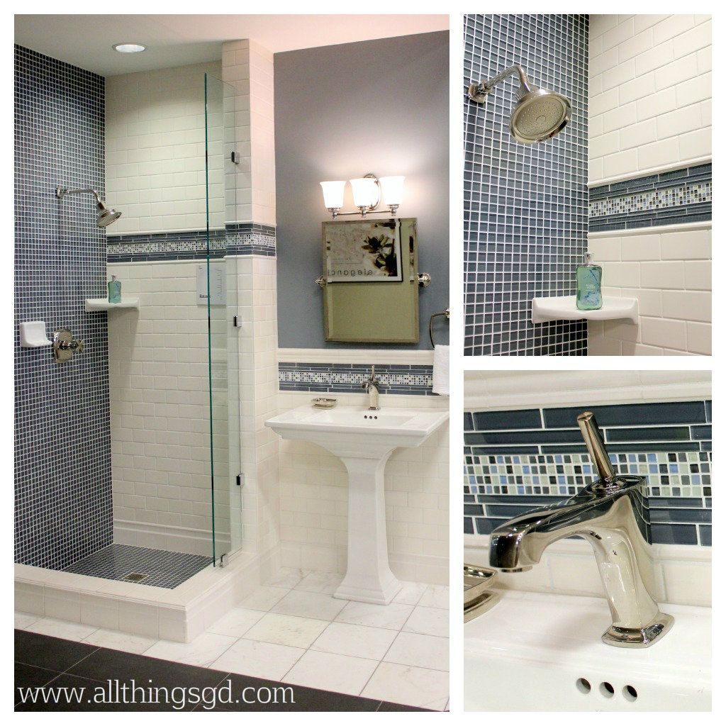 Blue glass and white subway tile bathroom love the mix of tile blue glass and white subway tile bathroom love the mix of tile sizes and patterns dailygadgetfo Gallery