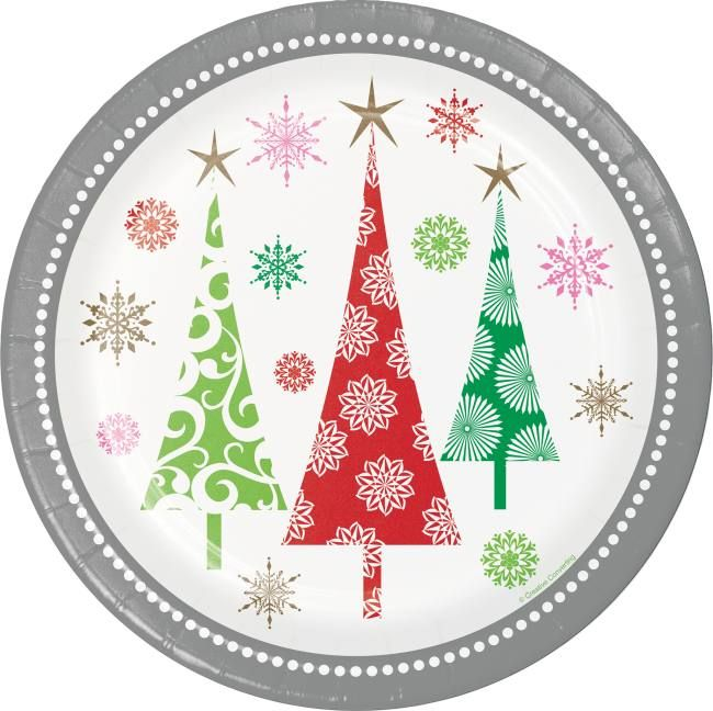 Contemporary Christmas Trees 9 Inch Plates With Images Contemporary Christmas Trees Party Supply Kits Contemporary Christmas