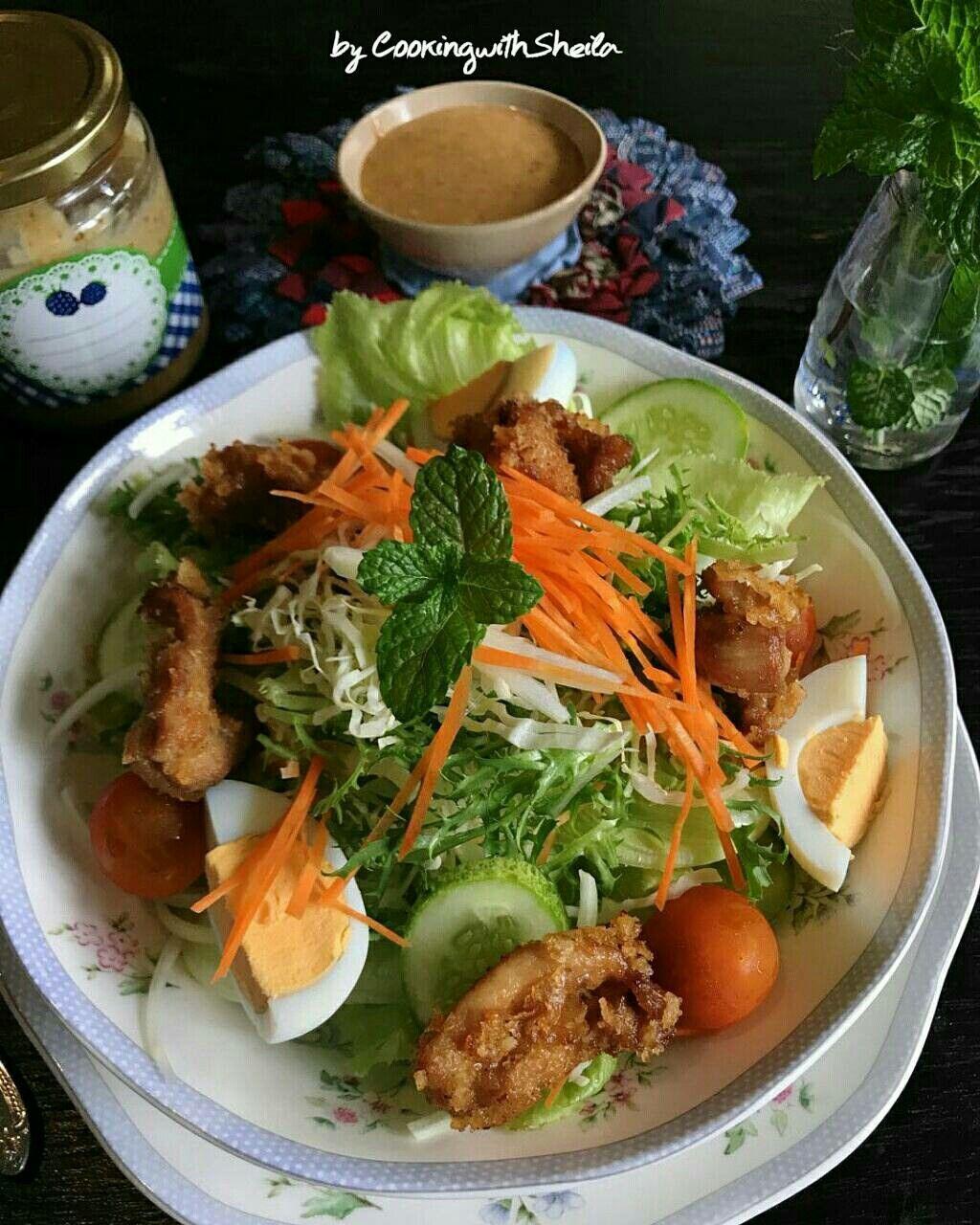 Japanese Sesame Dressing Chicken Salad Salad Sayuran