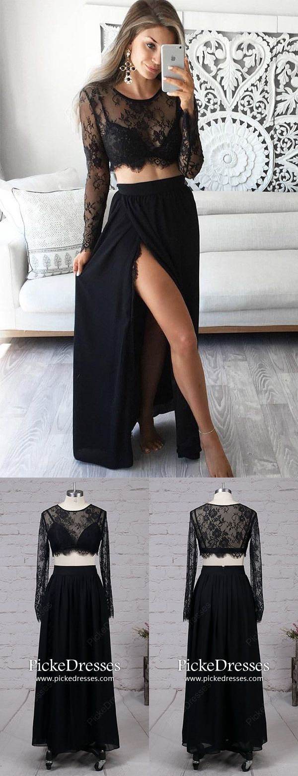 Long prom dresses two piece black evening dresses with long sleeve