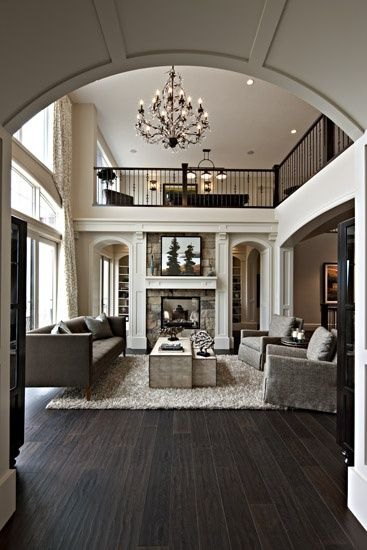 Great Dream Home.opened Interior Lovely New Build Living Room With The Walkway  Above Dark Wood Floors, Open Plan