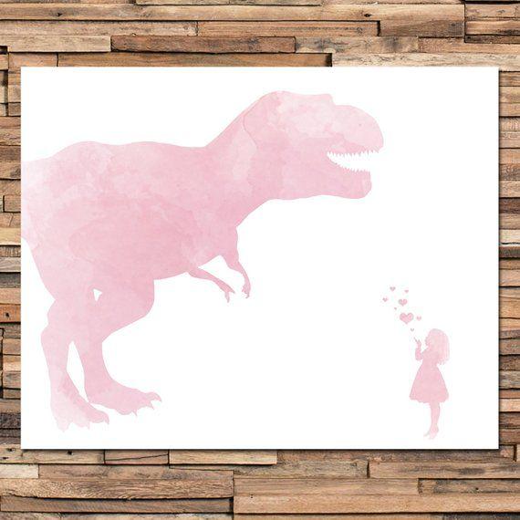 Girl Dinosaur Art - Dinosaur Nursery - Girls Bedroom - Girls Bedroom Decor - Girls Dinosaur Decor - Dinosaur Decor Girl - Curly Hair Girl #dinosaurart