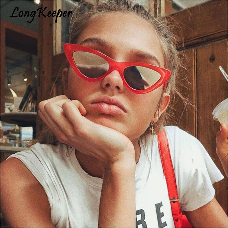 52a702bcac4 2018 Most Popular Triangle Small Cat Eye Sunglasses Women Sexy Ladies  Eyewear Men Luxury Sun Glasses 9 Colour By Long Keeper-in Sunglasses from  Women s ...