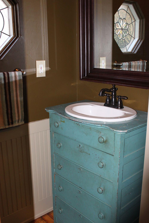 Mudroom Renovation Old Dresser Re Purposed Into A Stunning Vanity On The Cheap Diy Bathroom Primitive Bathrooms Bathroom Makeover