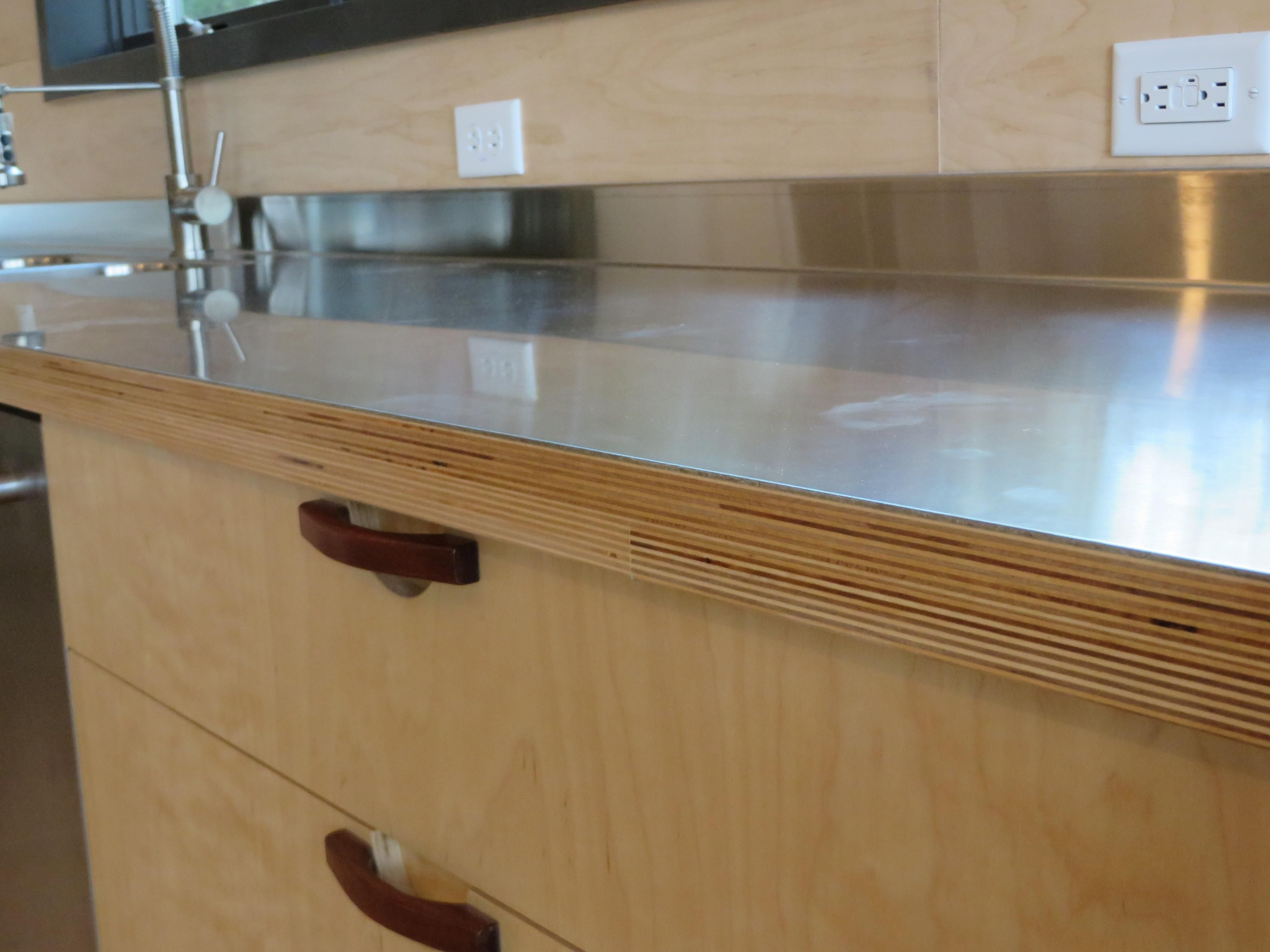 Plywood Stainless Counters Plywood Kitchen Steel Furniture