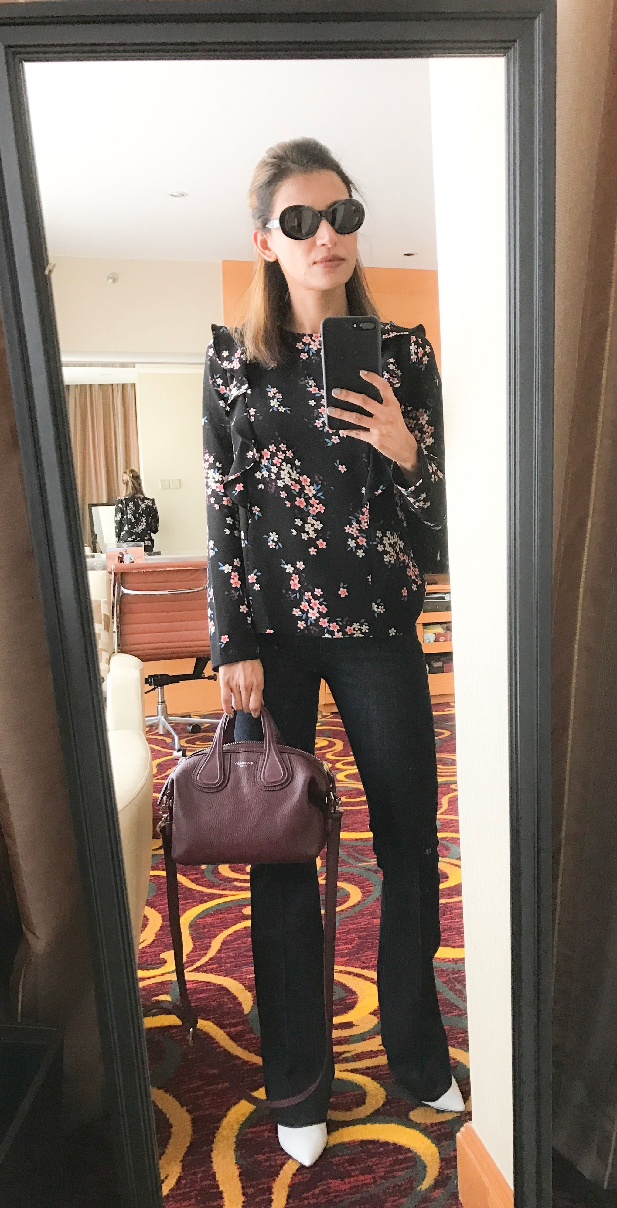 Givenchy Micro nightingale bag outfit with flare jeans and grill top style 900a5ee2c2f9c