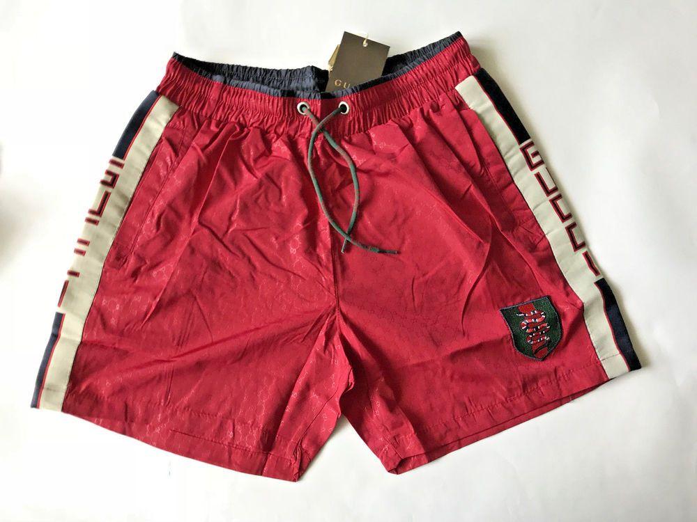 f277da9ea057f Brand Gucci Striped Italy Animal Shield Embrodie Beach Swim Shorts ...