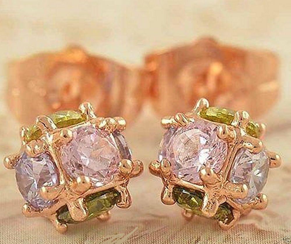 9k Rose GF Hypo-Allergenic Crystal Multi Color Stones Ball Stud Ear Rings   #Unbranded #Stud Ear Rings Ending Soon!