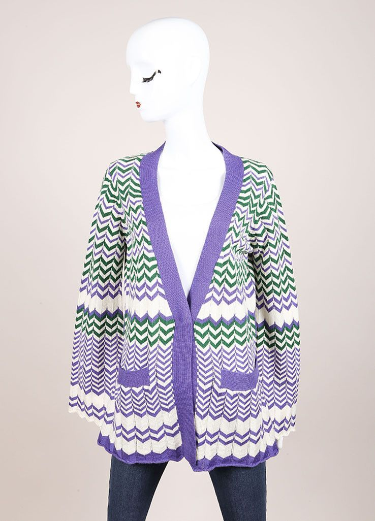 Purple, White, and Green Wool Zig Zag Knit Bell Sleeve Cardigan