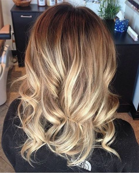 A mix of honey hued and lighter highlights on a naturally darker ...