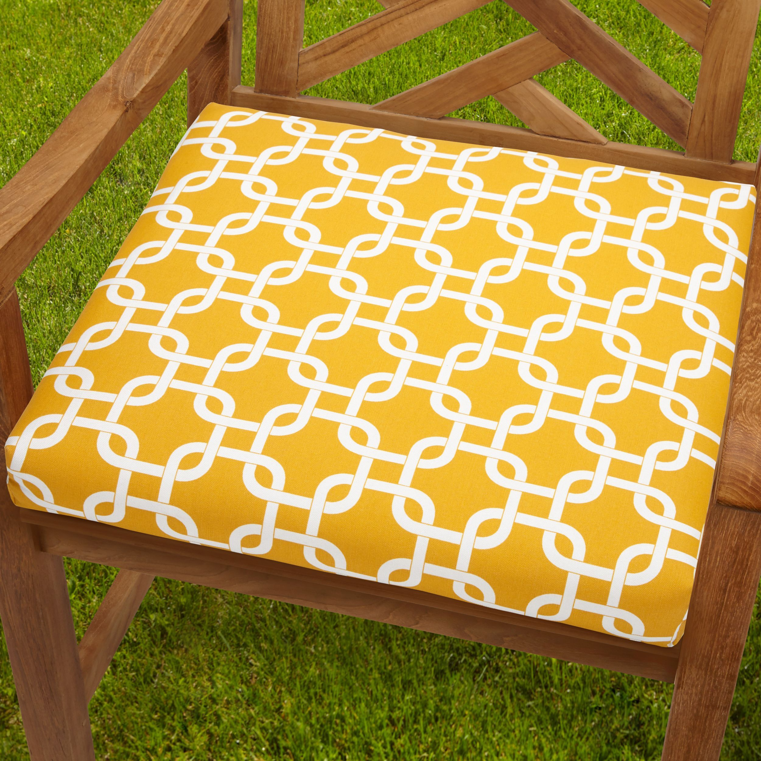 bristol 19 inch indoor outdoor knotted yellow chair cushion
