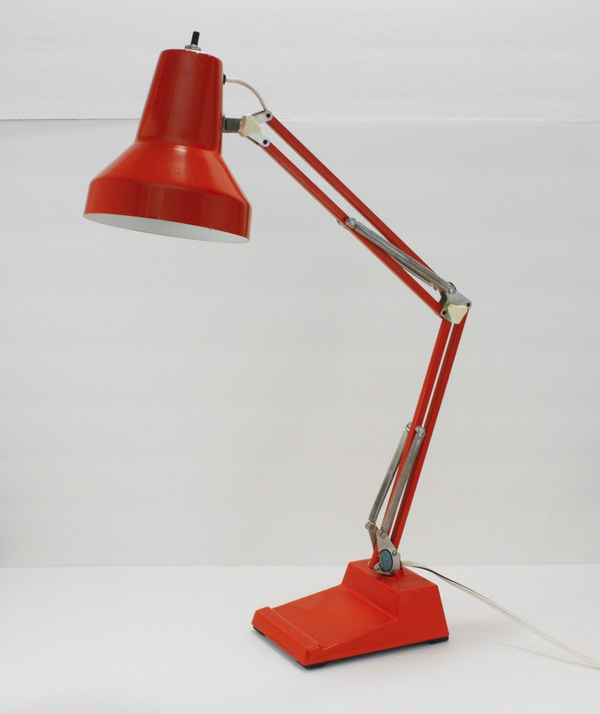 Vintage Orange Ledu 70s Desk Lamp Task Articulating Spring Arm Swing