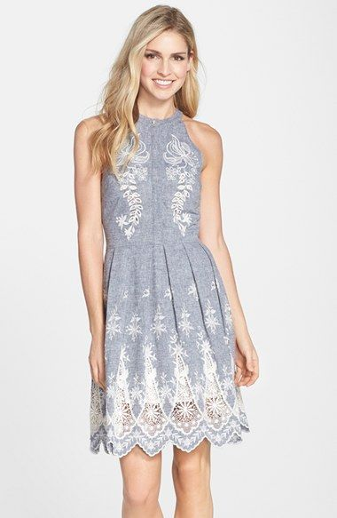 Cynthia Steffe Embroidered Chambray Fit Amp Flare Dress