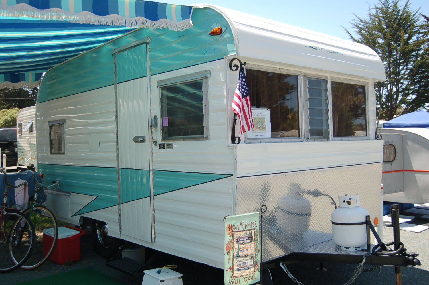 Fireball Vintage Trailer Blue And White Striped Side