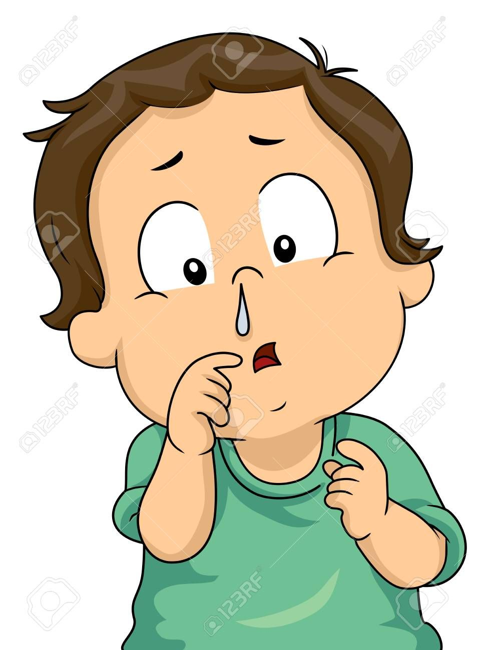 Illustration Of A Kid Boy With A Runny Nose Sponsored Kid Illustration Boy Nose Runny