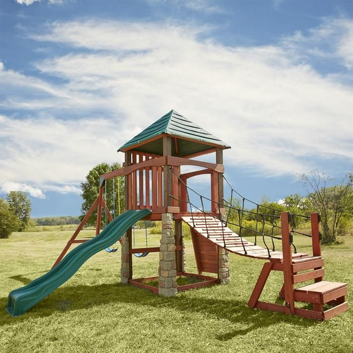 Wooden play sets with swinging bridge