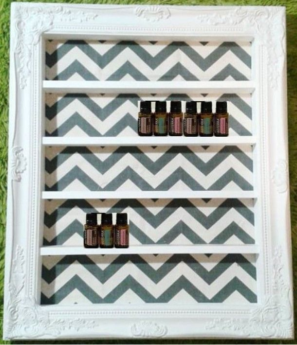 am in LOVE with these custom handmade wooden shelves! Theyre perfect for storing and displaying 5ml and 15ml essential oil bottles. Smaller shelves hold about 20 bottles; larger shelves can hold up to 80 bottles. You get to pick your size frame style color and background pattern. Love it! in LOVE with these custom handmade wooden shelves! Theyre perfect for storing and displaying 5ml and 15ml essential oil bottles. Smaller shelves hold about 20 bottles; larger shelves can hold up to 80 bottles. You get to pick your size frame style color and background pattern. Love it!